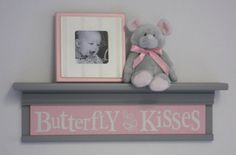 Pink and Gray Baby Girl Nursery  Butterfly Kisses  by NelsonsGifts, $45.00