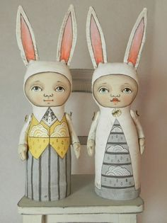 Rainy Day Rabbit Boy and Girl -- Contemporary Folk Art Dolls