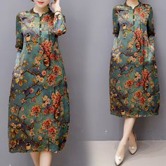 Autumn Vintage Chinese Style Cheongsam Floral Print Green Dresses
