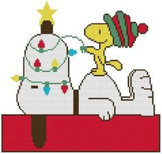 Cross Stitch Knit Crochet Plastic Canvas Waste Canvas Rug Hooking and Bead Work Pattern Peanuts Woodstock is decorating Snoopy's nose for Christmas! https://www.pinterest.com/resparkled/