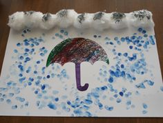 kids rainy day craft - the raindrops are thumbprints