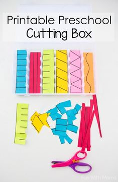 This Montessori inspired Printable Preschool Cutting Busy Box is perfect for toddlers and preschool kids to work on their scissor and fine motor skills. A quiet box for preschoolers works well for 2 3 and 4 year olds too. You can even do it as a busy bag 3 Year Old Activities, Motor Skills Activities, Preschool Learning Activities, Preschool At Home, Toddler Learning, Toddler Preschool, Preschool Crafts, Montessori Preschool, Preschool Cutting Practice