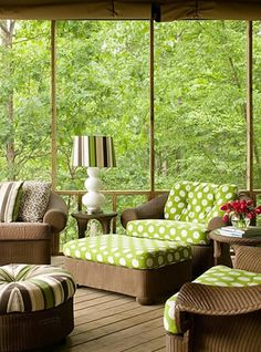 Tobi Fairley Interior Design - Lakeview Estate - a nice mix of green fabrics surrounded by the green forest view (remember the 4 seasons & how the decor will work with the changing view - perhaps seasonal slipcovers for spring/summer & fall/winter?)
