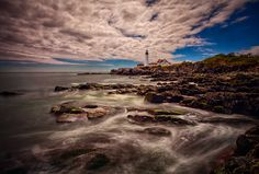 Example of use of neutral density filter taken at the Portland Head Light in Maine