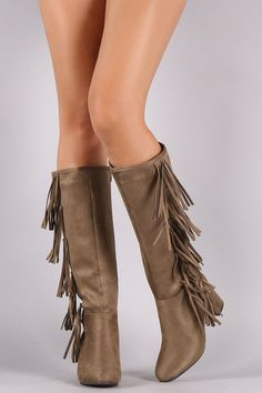 These chic fringe design, and wrapped block heel. Finished with a cushioned insole, smooth lining, and full-length side zipper closure for easy on/off. Mid Calf Boots, Knee High Boots, Side Fringe, Moccasins, Block Heels, Booty, Chic, Shoes, Fashion