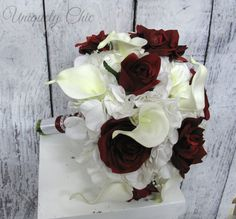 Burgundy wine rose calla Wedding bouquet  by UniquelyChicWeddings