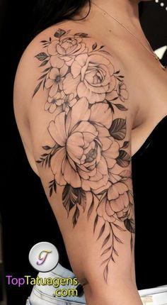 Back Of Shoulder Tattoo, Tribal Shoulder Tattoos, Shoulder Tattoos For Women, Flower Tattoo Shoulder, Shoulder Tattoo Female, Feminine Shoulder Tattoos, Quarter Sleeve Tattoos, Tattoos For Women Half Sleeve, Tattoos For Women Small