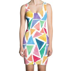 White Bodycon Dress With Watercolor Triangles ❤ ReFashion Party Casual Dresses, Fashion Dresses, White Mini Dress, Refashion, Bodycon Dress, Stylish, Womens Fashion, Color, Casual Gowns