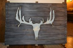 Rustic Barn Wood Deer Sillouette Wall by LifeLoveSimplicity - My Easy Woodworking Plans Cnc Woodworking, Cool Woodworking Projects, Woodworking Patterns, Wood Projects, Rustic Barn, Barn Wood, Pallet Wall Art, Horseshoe Crafts, Picture On Wood