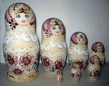 Matryoshka Russian nesting dolls handpainted set of 7 pcs Belosnezhka Pyrography