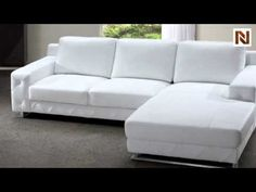 Modern White Leather Sectional Sofa VG2T0680