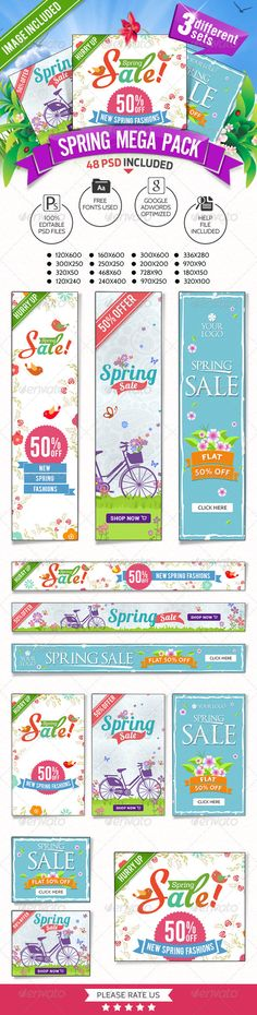 Spring Sale Mega Pack - 3 Banner Sets Template PSD | Buy and Download: http://graphicriver.net/item/spring-sale-mega-pack-3-banner-sets/7450266?WT.ac=category_thumb&WT.z_author=doto&ref=ksioks