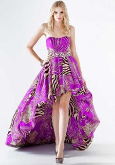 stunning strapless high low dress with animal and shimmery print material