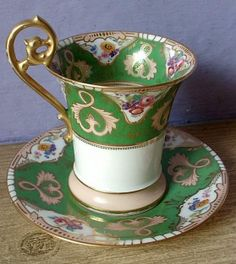Vintage hand painted Limoges porcelain chocolate cup and saucer set, France