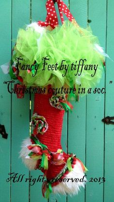 Lime Green Red and White_Tulle by fancyfeetbytiffany on Etsy