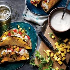 Shredded Chicken Tacos with Mango Salsa | MyRecipes.com #myplate