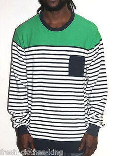 PRPGNDA Sweater New $59.50 Mens Crew Neck Stripe Pull Over Choose Size