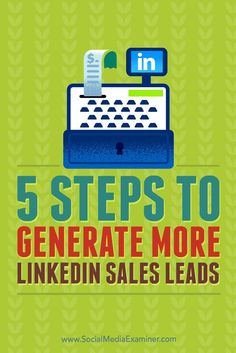 Do you want more leads from LinkedIn? With the right approach, you can be the first person your connections think of when they need someone in your industry. In this article, youll discover how to turn LinkedIn connections into qualified leads. Via /sm/ Linkedin Business, Business Marketing, Content Marketing, Online Marketing, Social Media Marketing, Business Tips, Creative Business, Online Business, Business Cards