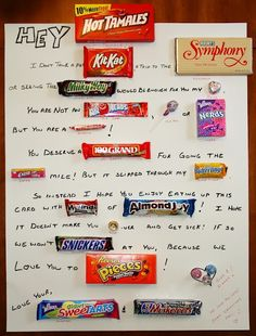 Candy Bar Poster a friend (Susan Staus) made for her hubby for Valentines Day! Valentines Gifts For Boyfriend, Cards For Boyfriend, Boyfriend Birthday, Boyfriend Gifts, Candy Bar Cards, Candy Bar Sayings, Handmade Valentine Gifts, Valentine Day Gifts, Valentine Ideas