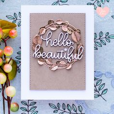 Here's some Fall inspiration using the new Etched Eucalyptus Wreath Die. Sadly the summer is starting to feel like it's over, but I'm ok with it since Fall is my favorite season 😉🍁 Eucalyptus Wreath, Friendship Cards, Fall Cards, Simon Says Stamp, Hello Beautiful, Card Maker, Autumn Inspiration, Wreaths, My Favorite Things