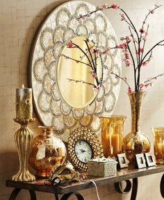 Champagne Mirrored Mosaic Damask Panel | Furniture ...