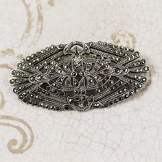 """Art Deco Sterling Silver Marcasite Oval Brooch by scdvintage, $60.00 Cyber Monday Sale 20% off with code """"CYBER20"""""""