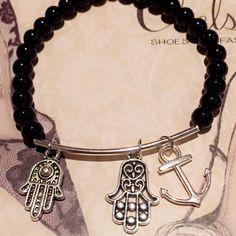 Hamsa hand, beaded bracelet, black bracelet