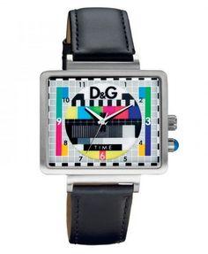Montre DOLCE & GABBANA femme, bracelet cuir noir et cadran fantaisiste multicouleurs.