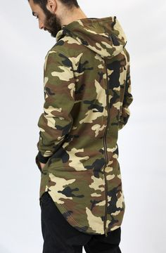 bed6d560967 Elongated Cowl Neck Hoodie in Camo