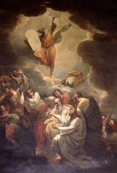 Moses Receiving The Law On Mount Sinai - Benjamin West – Jewish Art, Catholic Art, Religious Art, Aesthetic Theory, Tree Day, Mount Sinai, Modern Gothic, Jewish Museum, Biblical Art