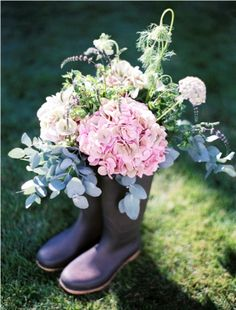 Such a fab idea! Decorate your venue with wellie boots overflowing with beautiful blooms, perfect festival wedding inspiration. Just add a brook bell tent glamping village for your guests! Festival Themed Wedding, Festival Party, Wedding Themes, Wedding Styles, Wedding Ideas, Wedding Decorations, Wedding Inspiration, Garden Inspiration, Wedding Stuff