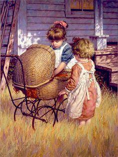 Brincando de casinha. 2010. Óleo sobre tela. Jim Daly (Holdenville, OK, USA, 1951 - ).  Esta pintura ganhou o O Povo Escolhe o Prêmio, 2010, na Mostra de Arte Ocidental Rendezvous em Helena, Montana, USA.