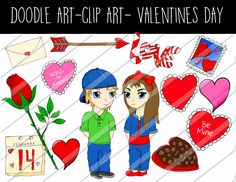 Doodle art Clip art Valentines Day Theme Hand Drawn doodle clipart personal and commercial use by PutOnYourPartyCap on Etsy