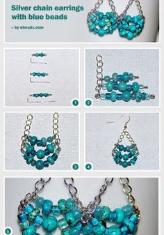 Silver Chain Earrings with Blue Beads