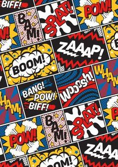 Modern Comic Book Superhero Pattern Color Colour Cartoon Lichtenstein Pop Art Art Print