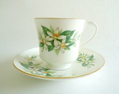 Tea Cup & Saucer Royal Tuscan Daffodil Teacup Vintage by TreasureCoveAlly on Etsy