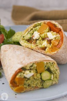 These Mediterranean-inspired wraps are vegetarian and make the perfect lunch option. Just roast and roll for a super filling and deliciously healthy meal.