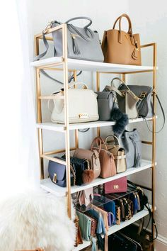 Wohnideen haute off the rack, closet organization, office closet, office space ideas, closet space i Handbag Display, Handbag Storage, Handbag Organization, Home Organization, Handbag Organizer, Purse Organizer Closet, Bag Closet, Office Storage, Closet Storage