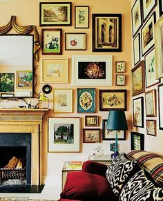 Rita's gallery wall has evolved gradually with a mix of gifts and fortuitous finds: 'I lov. Living Room Sofa, Living Spaces, Yellow Walls, Interior Design, Interior Decorating, Decorating Ideas, Decor Ideas, Frames On Wall, Sweet Home