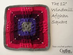 free crochet afghan square 12 inch Windmill Square #cre8tioncrochet