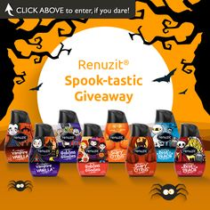 """""""Renuzit® Spook-tastic Giveaway""""   Enter for your chance to win a prize pack filled with all the essentials for a spook-tastic Halloween – Including Renuzit® limited edition Halloween cones! 1 winner a week.  Enter today, if you dare!"""