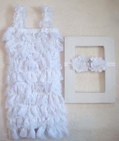 White Baby Baptism Outfit-Lace Petti Romper SET-Cross Headband-Baby Girl Clothes-Newborn-Infant-Child-Toddler-Confirmation-Church Dress-SOFT