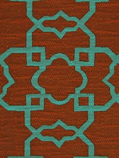 A contemporary upholstery fabric in a classic trellis design of teal and orange. This fabric is suitable for furniture upholstery. See more