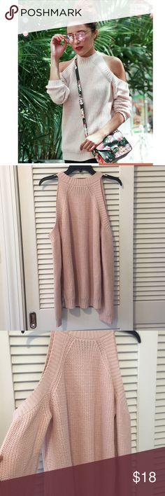 Forever 21 Open Cold Shoulder Blush Sweater Only worn once. Excellent condition. True blush color. Fits true to size. Forever 21 Sweaters