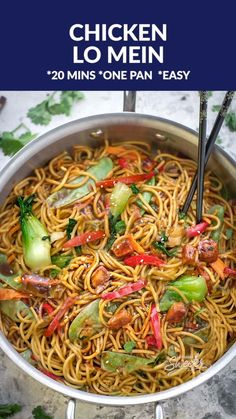 Chicken Lo Mein Noodles the best most authentic easy restaurant quality dish ready under 30 minutes Perfect for busy weeknights and way better and healthier than takeout