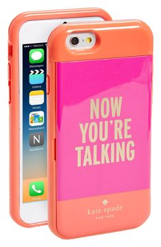 Crushing on this adorable pink and orange Kate Spade phone case that keeps the iPhone safe while also making makeup touch-ups easy with its hidden mirror.