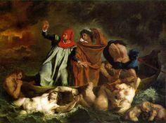 La barca de Dante y Virgilio. Delacroix. Francia