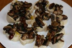 Mini Bruschetta with mixed mushrooms and herbs with the left over bread.
