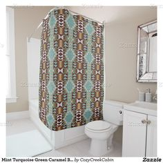 A large collection of rustic decor shower curtains. With motifs such as log cabin style, mountain lodge home, Cherokee or Navajo tribal inspired motif, retro bohemian mosaic, native American Indian themes or eclectic southwestern Santa Fe New Mexico ranch colors designs. Click on the shown shower curtain and enjoy our unique and beautiful designs scroll by!