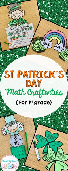 Enhance your first grade students ability to demonstrate operations and algebraic thinking skills through March by incorporating St. Patrick's Day interactive extensions to your lessons with craftivities or math art. Skills include word problems within 20, graphing, fact families and true or false equations. The finished products also make beautiful bulletin board displays as well! $5.50